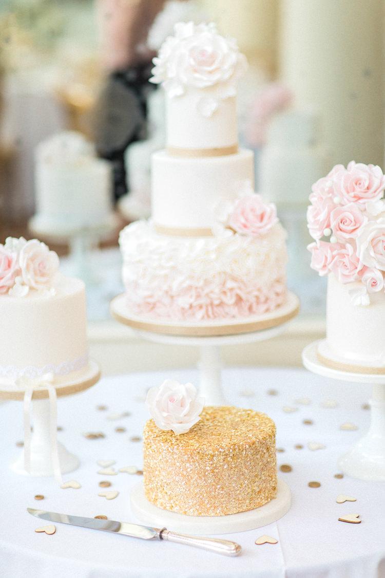 Cake Table Desserts Floral Ruffle Gold Sparkle Pink Glamour Wedding https://emilyhannah.com/