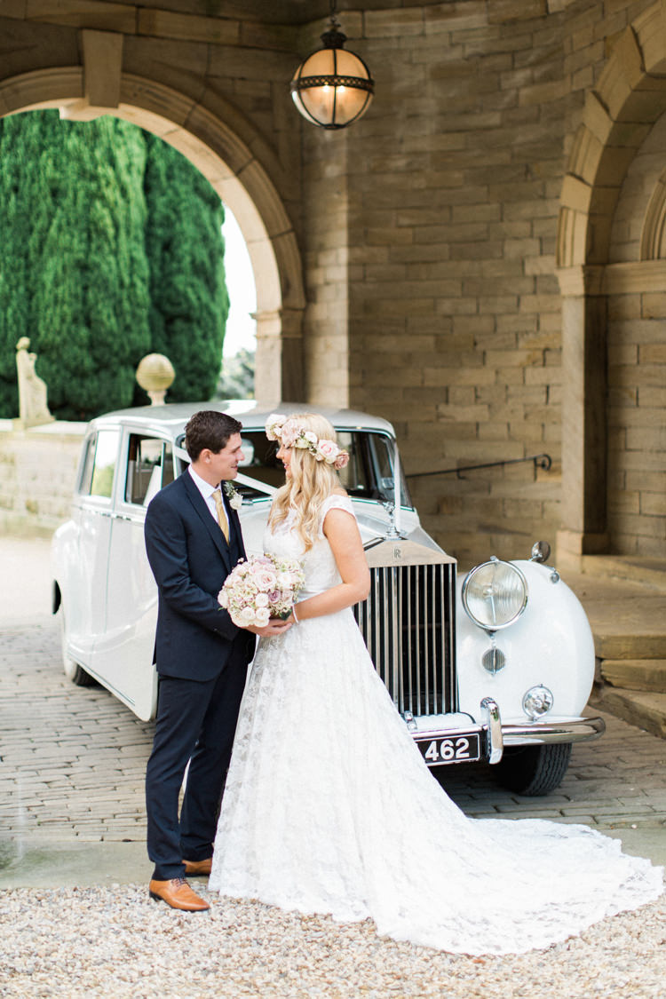 Classic Vintage Car Tranport Gold Sparkle Pink Glamour Wedding https://emilyhannah.com/