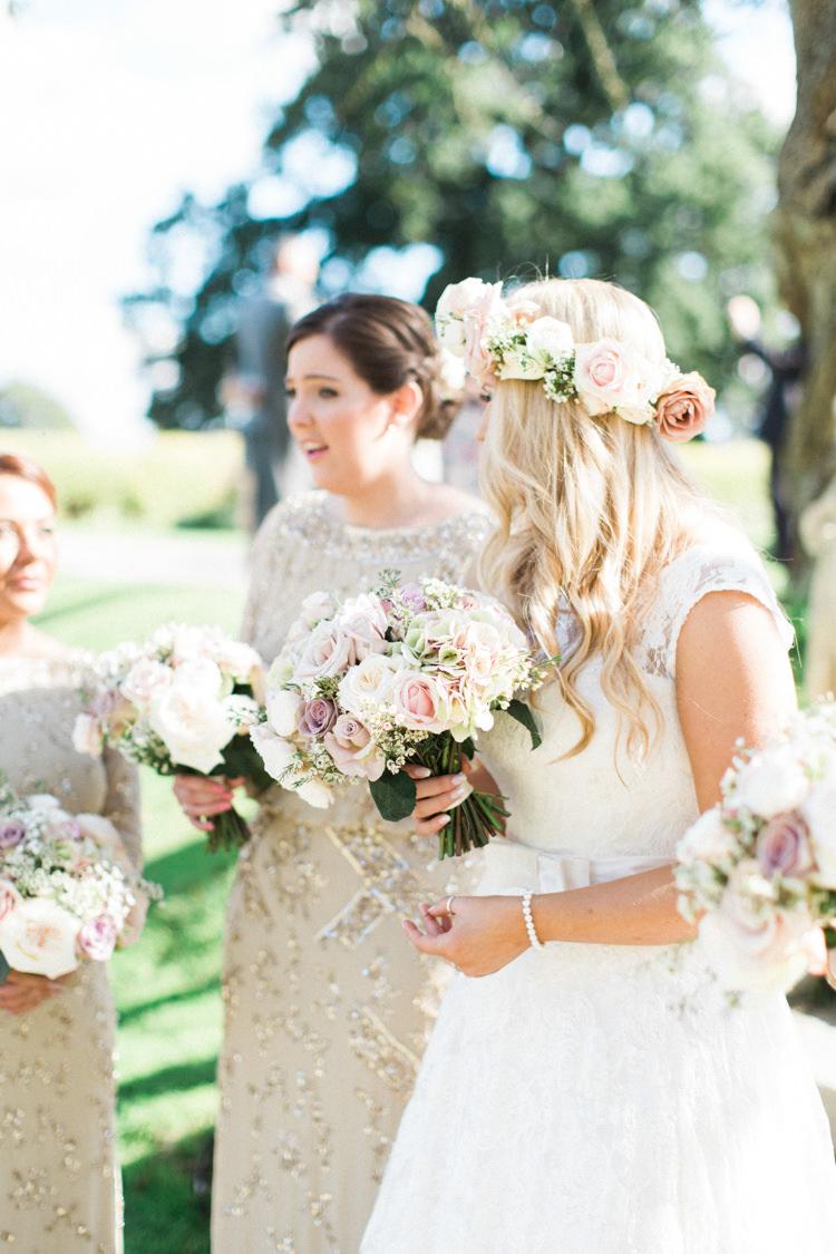 Bride Bridesmaid Flowers Pretty Gold Sparkle Pink Glamour Wedding https://emilyhannah.com/