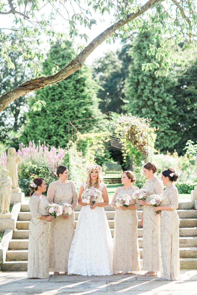Long Sequin Bridesmaid Dresses Jenny Packham Gold Sparkle Pink Glamour Wedding https://emilyhannah.com/