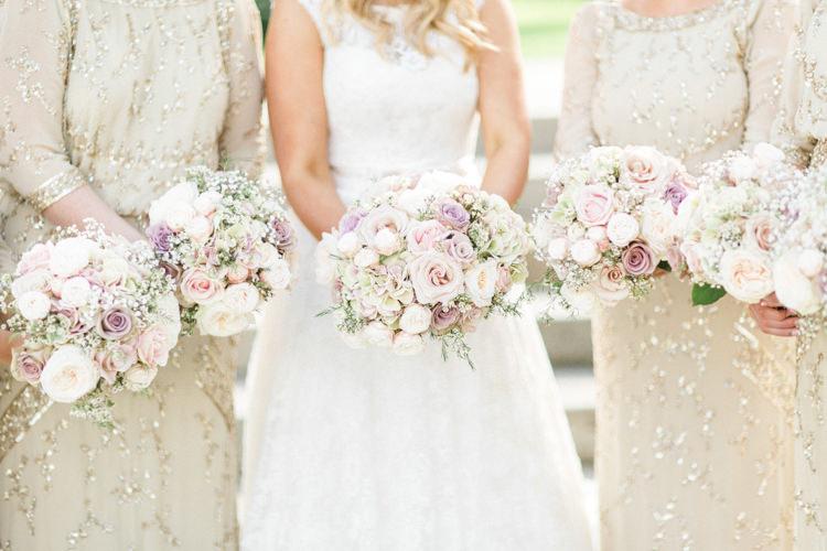 Bouquets Flowers Bride Bridal Bridesmaids Pastel Roses Gold Sparkle Pink Glamour Wedding https://emilyhannah.com/