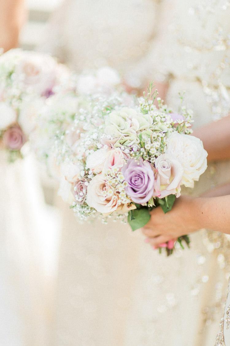 Bridesmaids Bouquets Flowers Rose Wax Flower Gyp Gold Sparkle Pink Glamour Wedding https://emilyhannah.com/