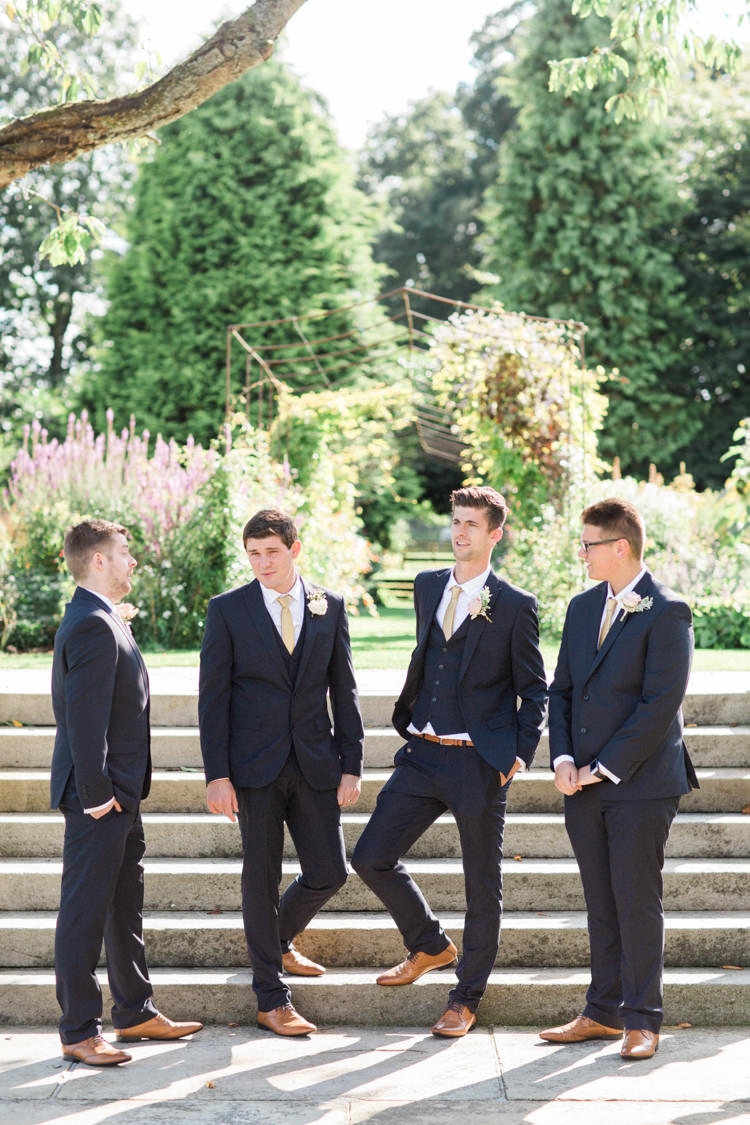 Groom Groomsmen Navy Suits Gold Sparkle Pink Glamour Wedding https://emilyhannah.com/