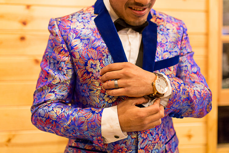 Reception Groom Bright Multicoloured Jacket Blue Lapel Bowtie DIY Whimsical Camp Wedding California http://www.landbphotography.org/