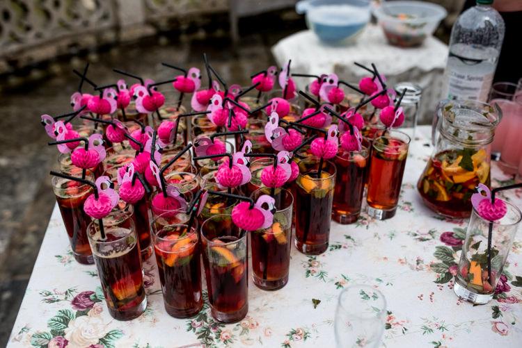 Flamingo Straws Drinks Quirky English Garden Party Wedding http://www.michellewoodphotographer.com/