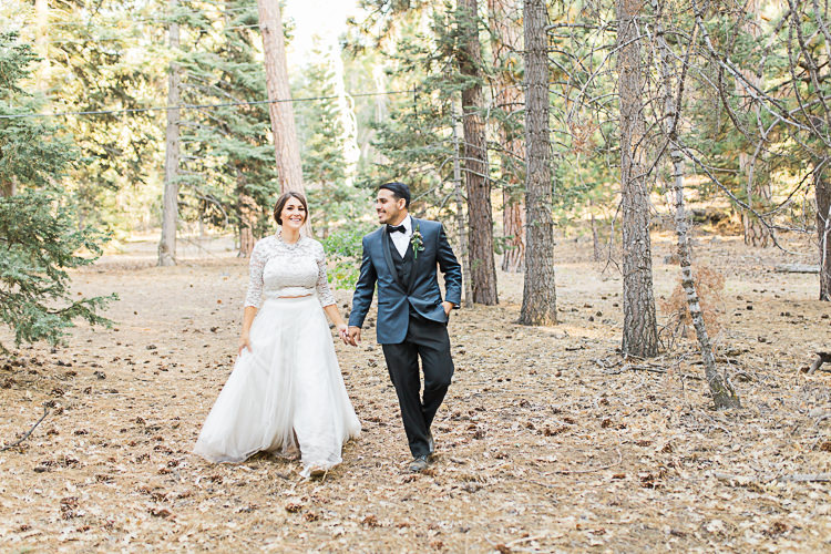 Bride Watters Separates Lace Top Tulle Skirt Veil Statement Necklace Groom Dark Blue Jacket Black Satin Lapel Black Pants Vest Bowtie Floral Buttonhole DIY Whimsical Camp Wedding California http://www.landbphotography.org/