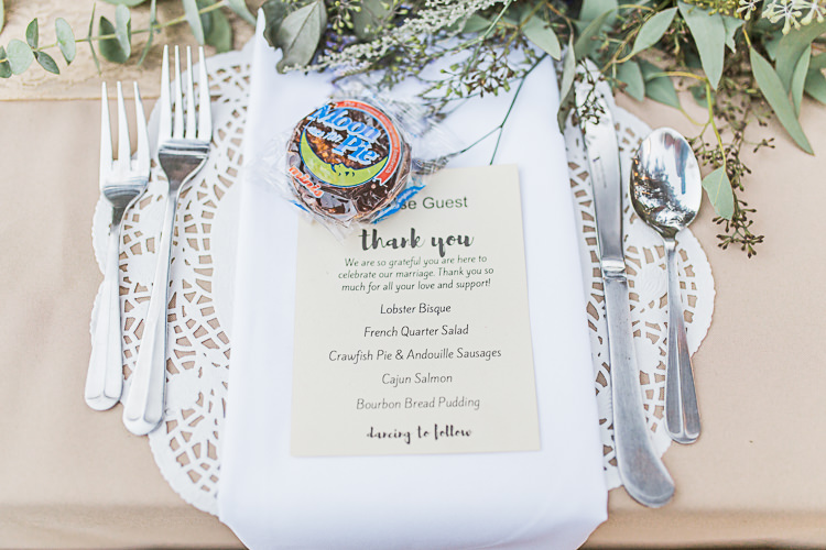 Reception Table Setting Stationery Menu Whoopie Pie Treat Greenery Silver Cutlery DIY Whimsical Camp Wedding California http://www.landbphotography.org/