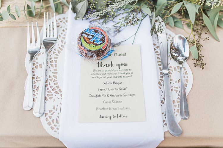 Reception Table Setting Stationery Menu Whoopie Pie Treat Greenery Silver Cutlery DIY Whimsical Camp Wedding California http://www.landbphotography.org/