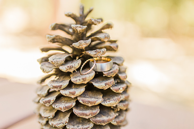 Gold Wedding Bands Pinecone DIY Whimsical Camp Wedding California http://www.landbphotography.org/