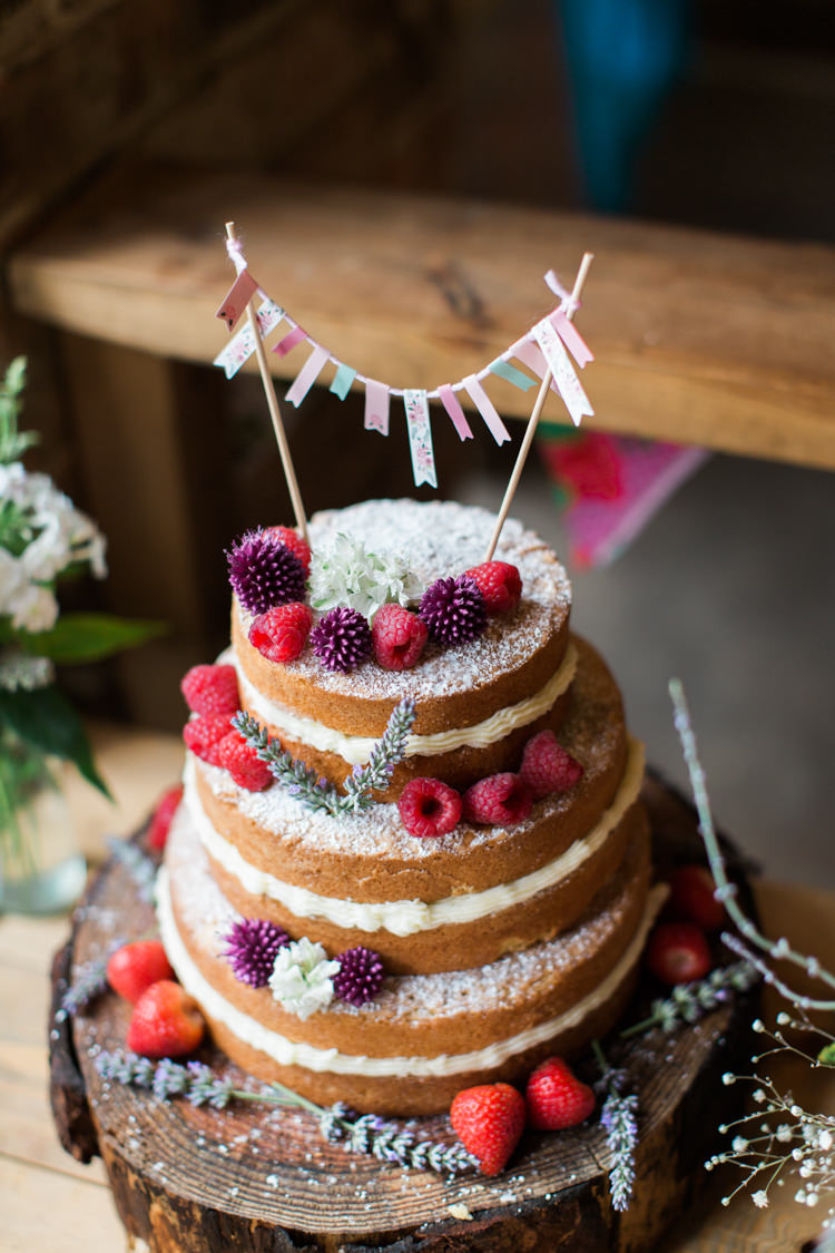 Naked Cake Sponge Layer Fruit Victoria Berries Log Bunting Beautiful Woodland Glade Wedding https://emilyhannah.com/