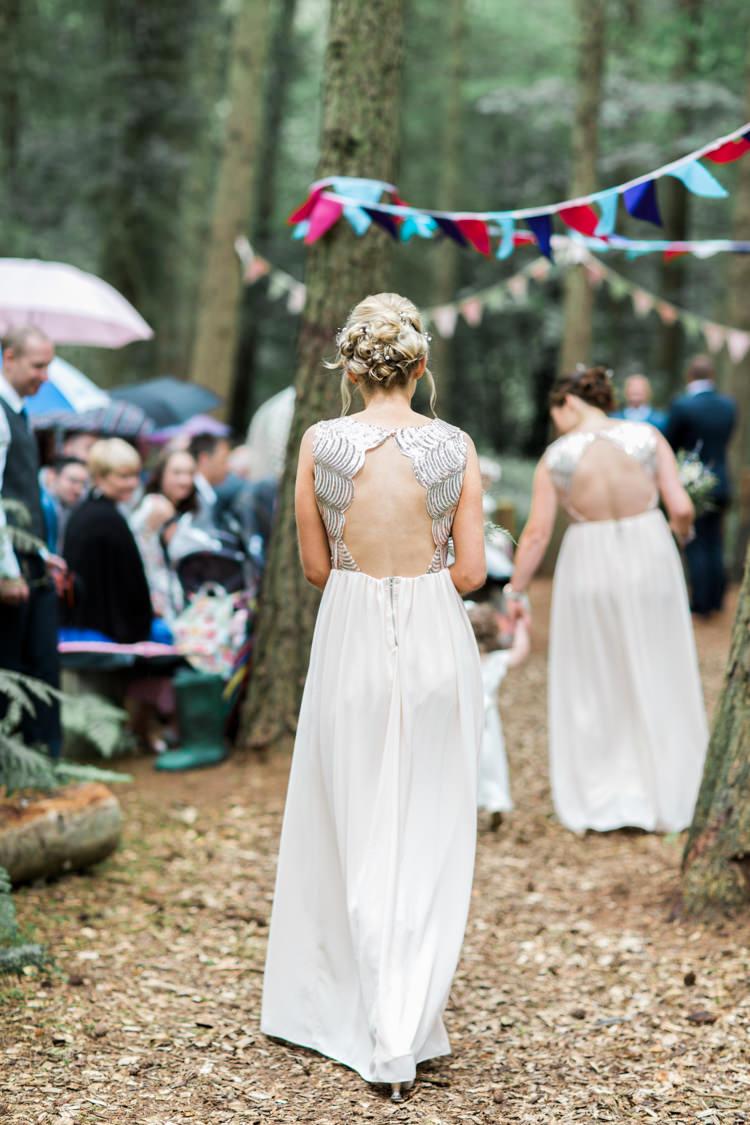 Backless Bridesmaid Dress Sequins Long Beautiful Woodland Glade Wedding https://emilyhannah.com/