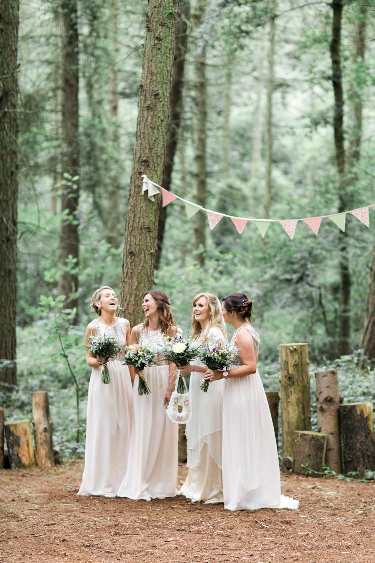 Long Blush Bridesmaid Dresses Sequins Beautiful Woodland Glade Wedding https://emilyhannah.com/