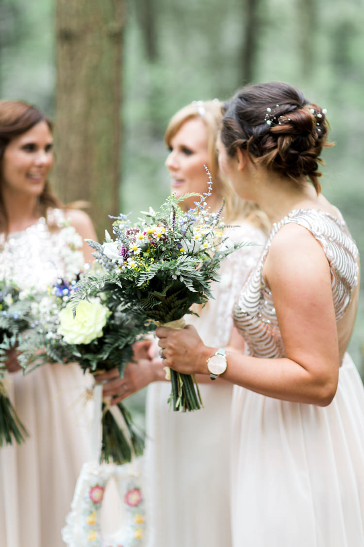 Bridesmaid Bouquets Flowers Fern Wild Foliage Beautiful Woodland Glade Wedding https://emilyhannah.com/