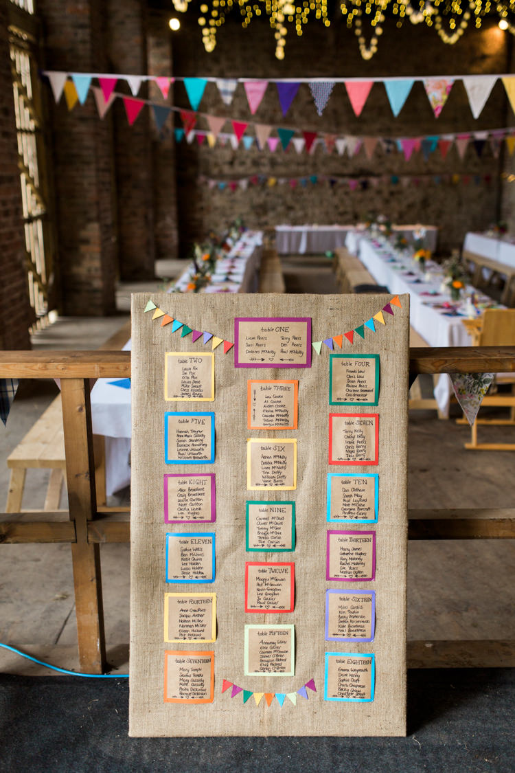 Seating Plan Table Chart Colourful Bunting Hessian Burlap Beautiful Woodland Glade Wedding https://emilyhannah.com/