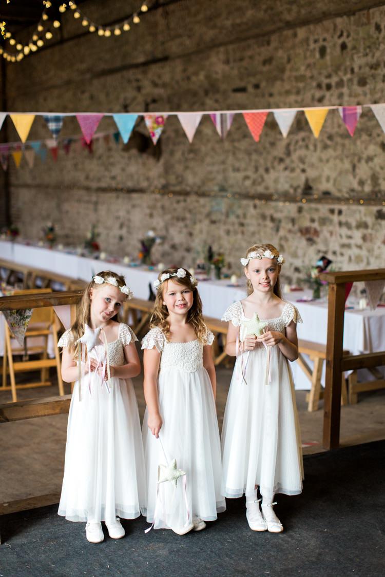 Crochet White Flower Girl Dresses Wands Stars Beautiful Woodland Glade Wedding https://emilyhannah.com/