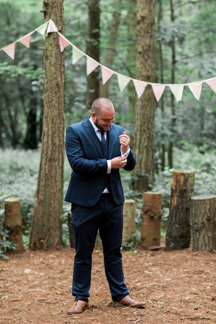 Navy Blue Suit Tan Shoes Groom Beautiful Woodland Glade Wedding https://emilyhannah.com/