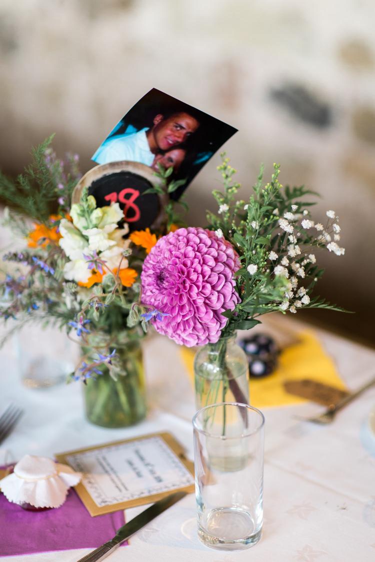 Jar Flowers Centrepiece Decor Dahlia Beautiful Woodland Glade Wedding https://emilyhannah.com/