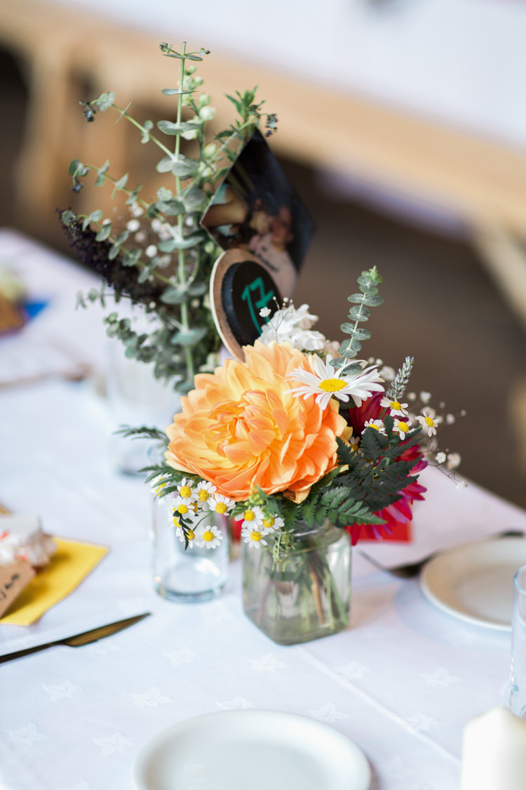 Jar Flowers Decor Centrepiece Dahlia Daisy Beautiful Woodland Glade Wedding https://emilyhannah.com/