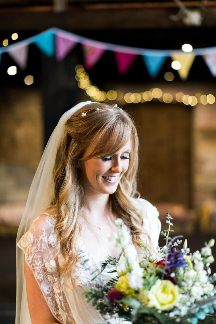 Bride Bridal Hair Waves Fringe Bangs Beautiful Woodland Glade Wedding https://emilyhannah.com/