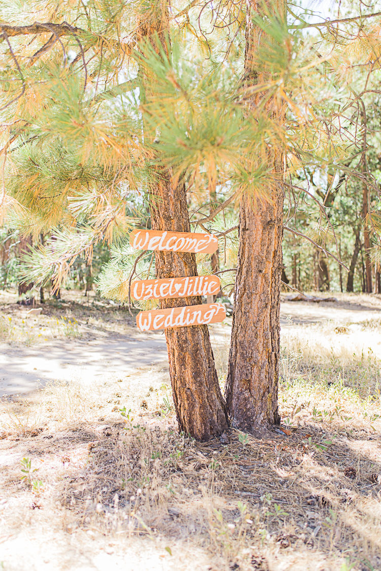 Outdoor Ceremony Wooden Handwritten Welcome Sign Trees DIY Whimsical Camp Wedding California http://www.landbphotography.org/