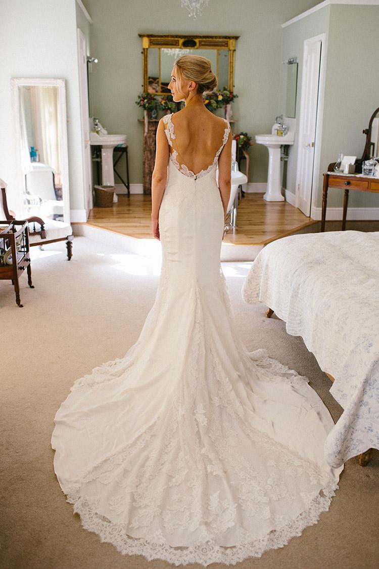 Presea Pronovias Lace Dress Gown Train Low Back Enchanted Fairy Garden Wedding http://lunaweddings.co.uk/