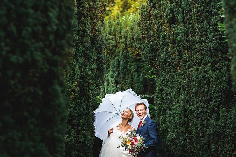 Bride Groom Umbrella Enchanted Fairy Garden Wedding http://lunaweddings.co.uk/