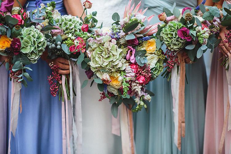Bouquets Flowers Bride Bridesmaids Pastel Ribbon Protea Hydrangea Enchanted Fairy Garden Wedding http://lunaweddings.co.uk/