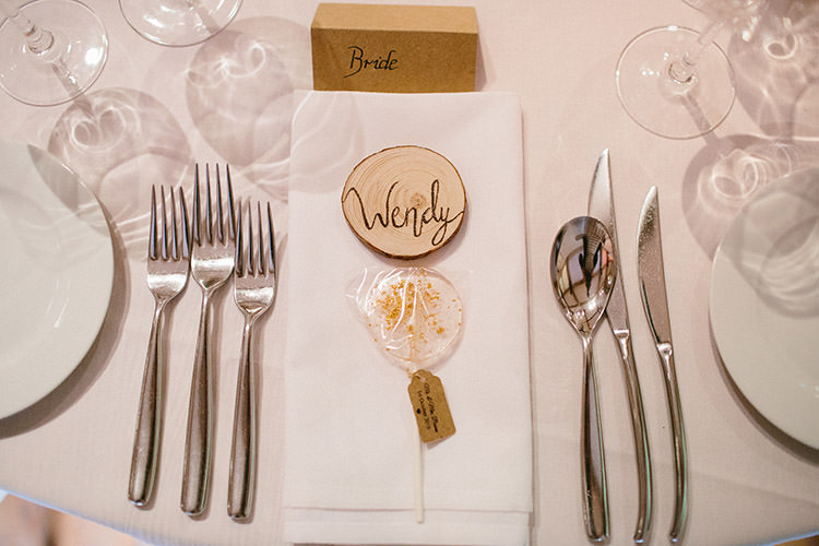 Log Slice Place Name Lollypop Favours Enchanted Fairy Garden Wedding http://lunaweddings.co.uk/