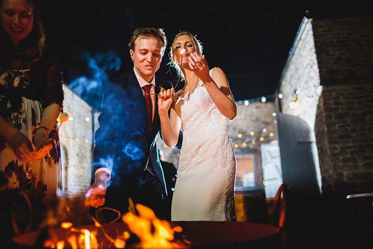 Smores Marshmallow Toasting Bride Groom Fire Enchanted Fairy Garden Wedding http://lunaweddings.co.uk/