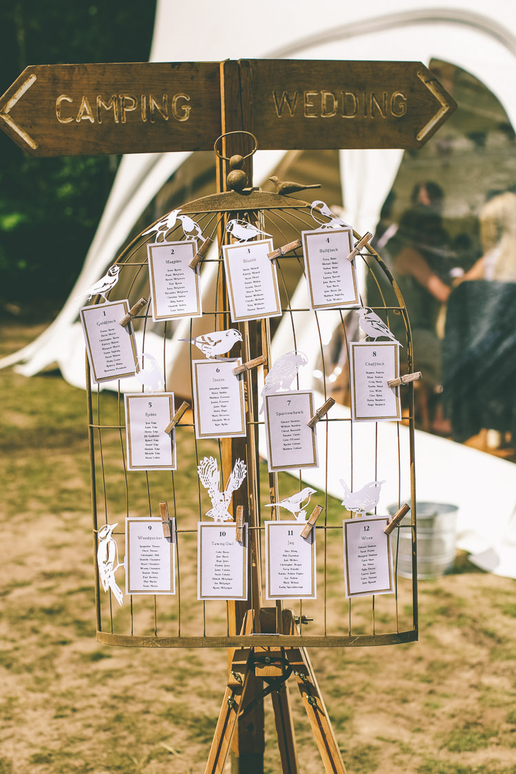 Bird Seating Plan Table Chart Cage Wire Pegs Rustic Woodland Birds Outdoorsy Wedding http://www.emmaboileau.co.uk/