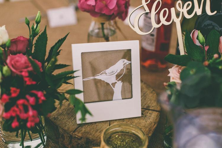 Bird Table Names Decor Flowers Rustic Woodland Birds Outdoorsy Wedding http://www.emmaboileau.co.uk/
