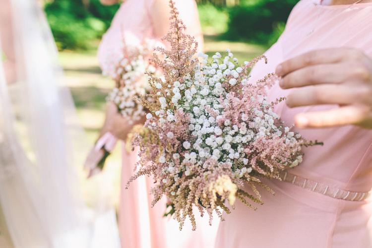 Astilbe Bridesmaid Bouquet Flowers Gyp Gypsophila Rustic Woodland Birds Outdoorsy Wedding http://www.emmaboileau.co.uk/