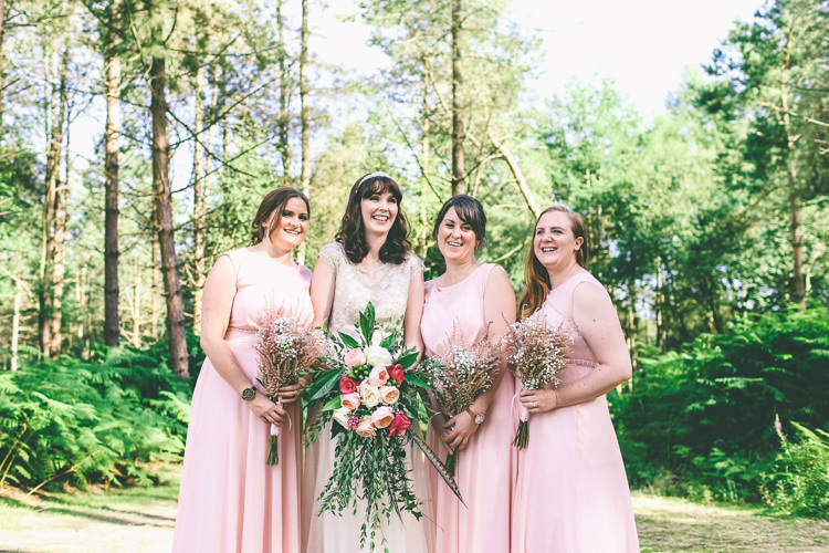 Pale Pink Bridesmaid Dresses Rustic Woodland Birds Outdoorsy Wedding http://www.emmaboileau.co.uk/