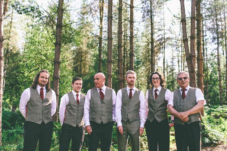 Tweed Groom Groomsmen Waistcoats Red Ties Rustic Woodland Birds Outdoorsy Wedding http://www.emmaboileau.co.uk/