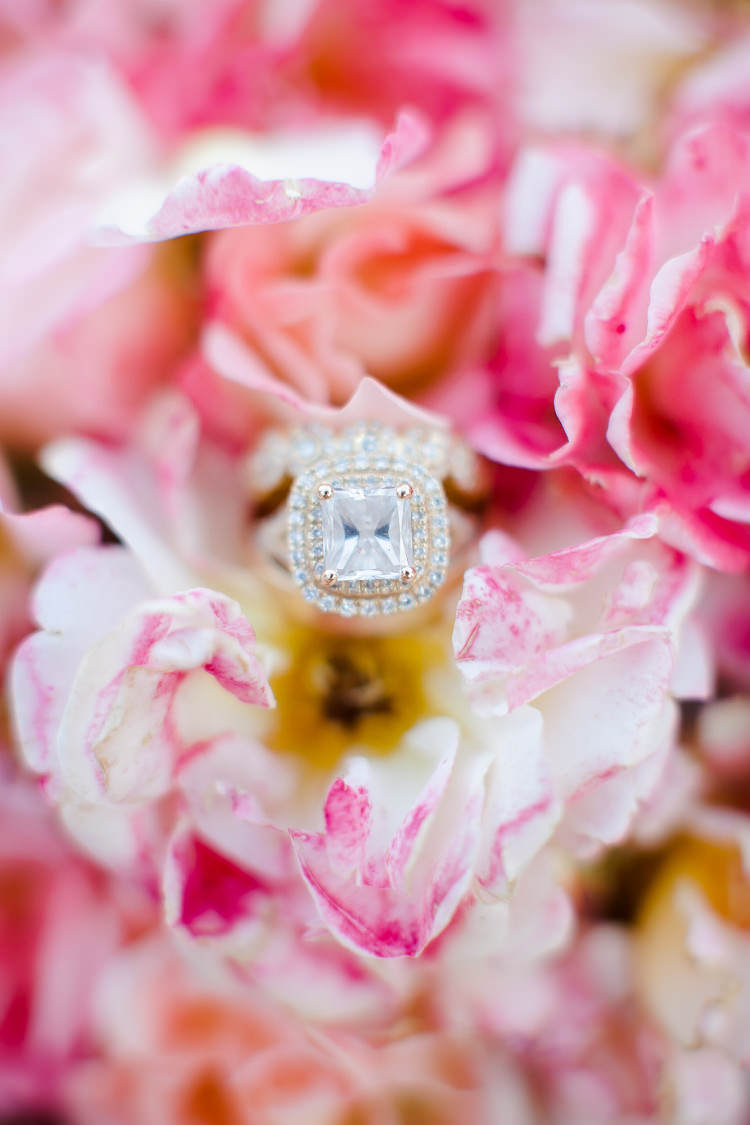 Pink Florals Diamond Square Engagement Ring Beautiful Pink Blue Tuscany Villa Wedding http://www.chloemurdochphotography.com/