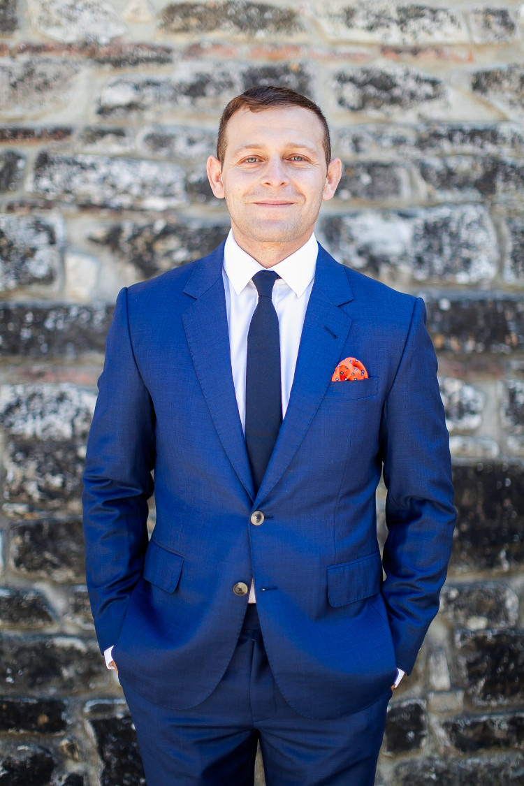 Groom Royal Blue Suit White Shirt Dark Blue Tie Orange Patterned Pocketsquare Beautiful Pink Blue Tuscany Villa Wedding http://www.chloemurdochphotography.com/