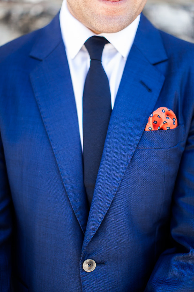 Groom Royal Blue Suit White Shirt Dark Blue Tie Orange Pocket Square Beautiful Pink Blue Tuscany Villa Wedding http://www.chloemurdochphotography.com/