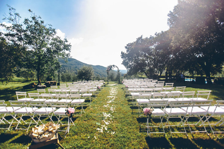 Outdoor Ceremony White Chairs Floral Arch Pink Flowers Beautiful Pink Blue Tuscany Villa Wedding http://www.chloemurdochphotography.com/