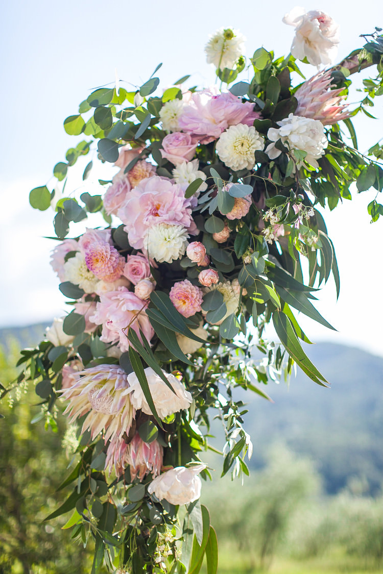 Outdoor Ceremony Floral Arch White Pink Flowers Eucalyptus Beautiful Pink Blue Tuscany Villa Wedding http://www.chloemurdochphotography.com/