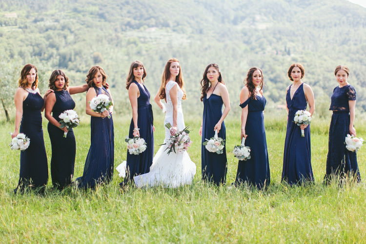 Bride Lace Two Piece Mermaid Bridal Gown Bridesmaids Dark Blue Dresses Different Styles Bouquets White Pink Florals Beautiful Pink Blue Tuscany Villa Wedding http://www.chloemurdochphotography.com/