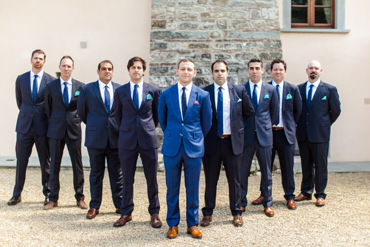 Groom Royal Blue Suit White Shirt Dark Blue Tie Orange Pocket Square Groomsmen Dark Blue Suits White Shirts Royal Blue Ties Green Pocket Squares Beautiful Pink Blue Tuscany Villa Wedding http://www.chloemurdochphotography.com/