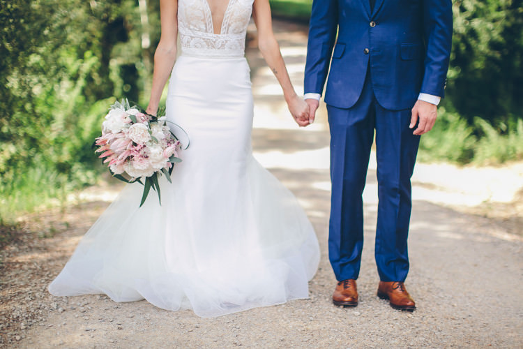 Bride Lace Two Piece Mermaid Bridal Gown White Pink Bouquet Protea Peonies Eucalyptus Groom Royal Blue Suit White Shirt Dark Blue Tie Tan Shoes Beautiful Pink Blue Tuscany Villa Wedding http://www.chloemurdochphotography.com/