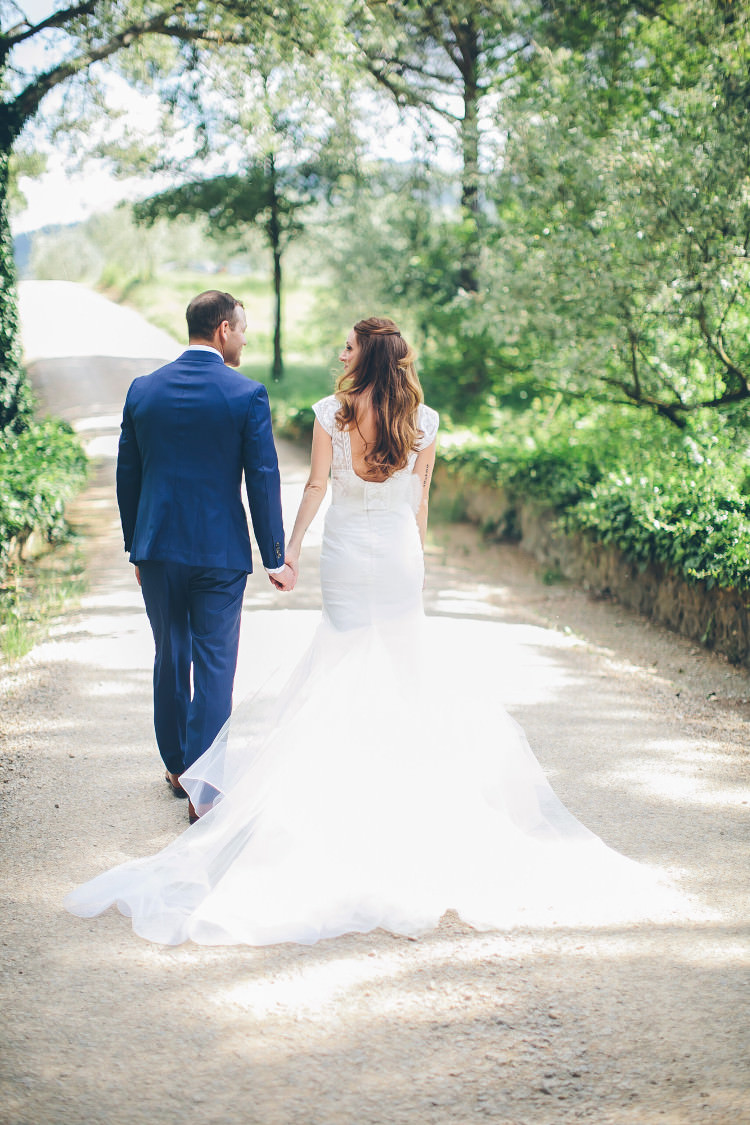 Bride Lace Two Piece Mermaid Bridal Gown Groom Royal Blue Suit White Shirt Dark Blue Tie Beautiful Pink Blue Tuscany Villa Wedding http://www.chloemurdochphotography.com/
