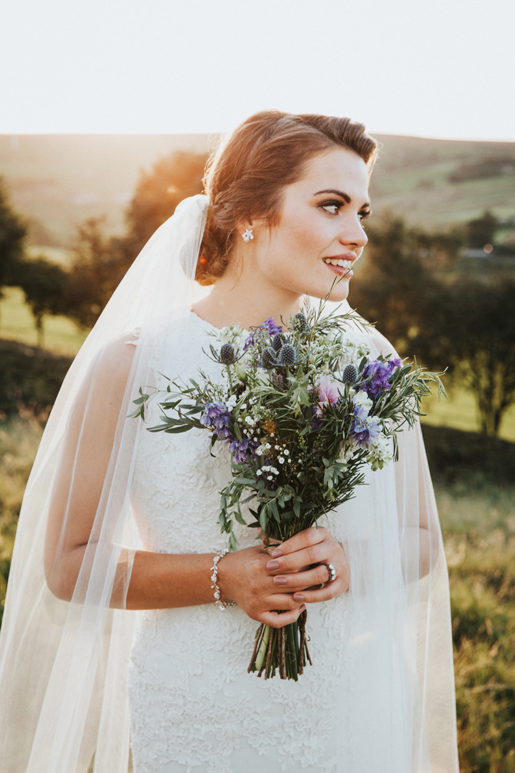 Bouquet Wild Thistle Foliage Bride Bridal Flowers Beautiful Flowery Country Marquee Wedding http://www.maddiefarrisphotography.co.uk/