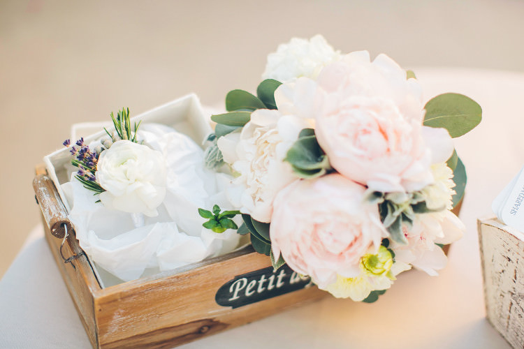 Reception Décor Wooden Box Pink White Florals Beautiful Pink Blue Tuscany Villa Wedding http://www.chloemurdochphotography.com/
