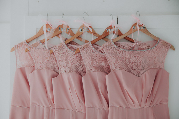 Custom Bridesmaid Hangers Dresses Beautiful Flowery Country Marquee Wedding http://www.maddiefarrisphotography.co.uk/