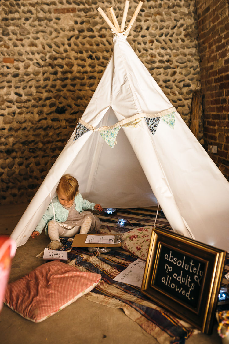 Kids Childrens Tipi Tent Area Gorgeous Home Made Pink Gold Barn Wedding http://www.bethmoseleyphotography.co.uk/