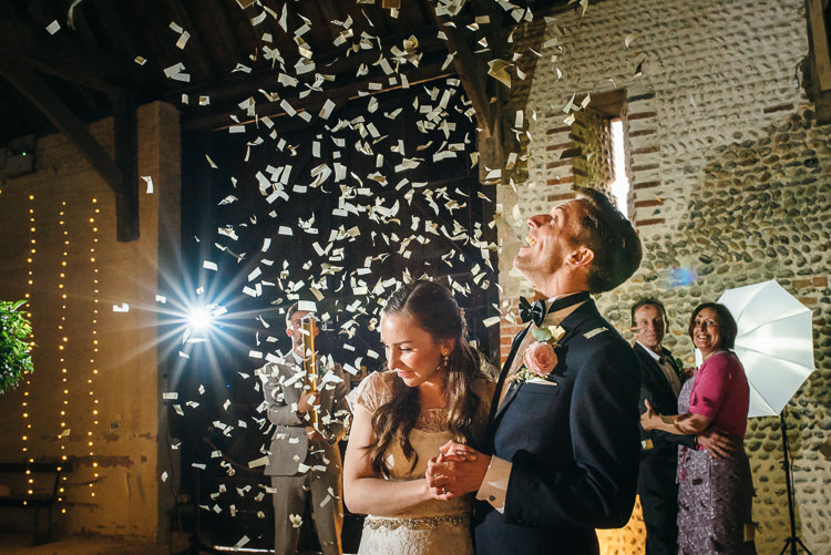 Confetti Canon Bomb First Dance Gorgeous Home Made Pink Gold Barn Wedding http://www.bethmoseleyphotography.co.uk/