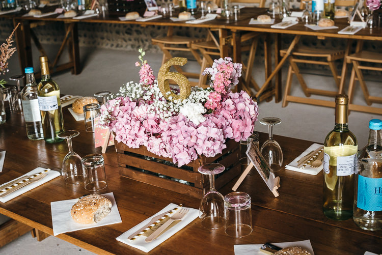 Wooden Box Flowers Rustic Hydrangeas Decor Gorgeous Home Made Pink Gold Barn Wedding http://www.bethmoseleyphotography.co.uk/