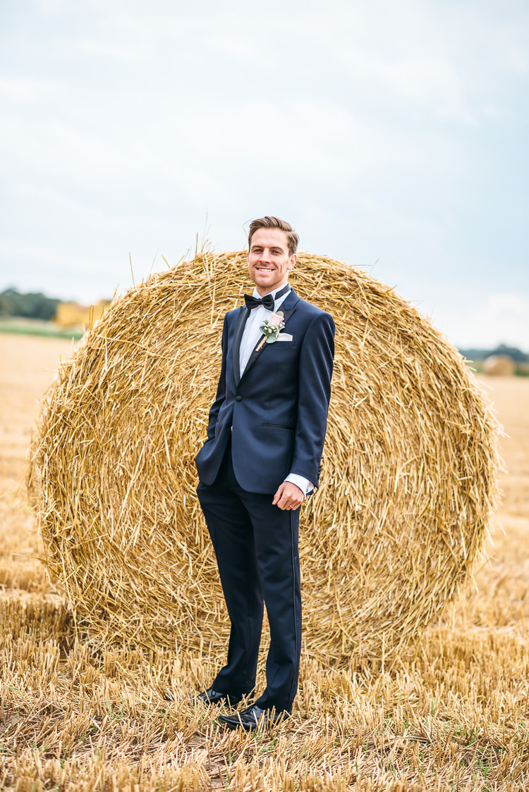 Navy Suit Tuxedo Groom Bow Tie Gorgeous Home Made Pink Gold Barn Wedding http://www.bethmoseleyphotography.co.uk/